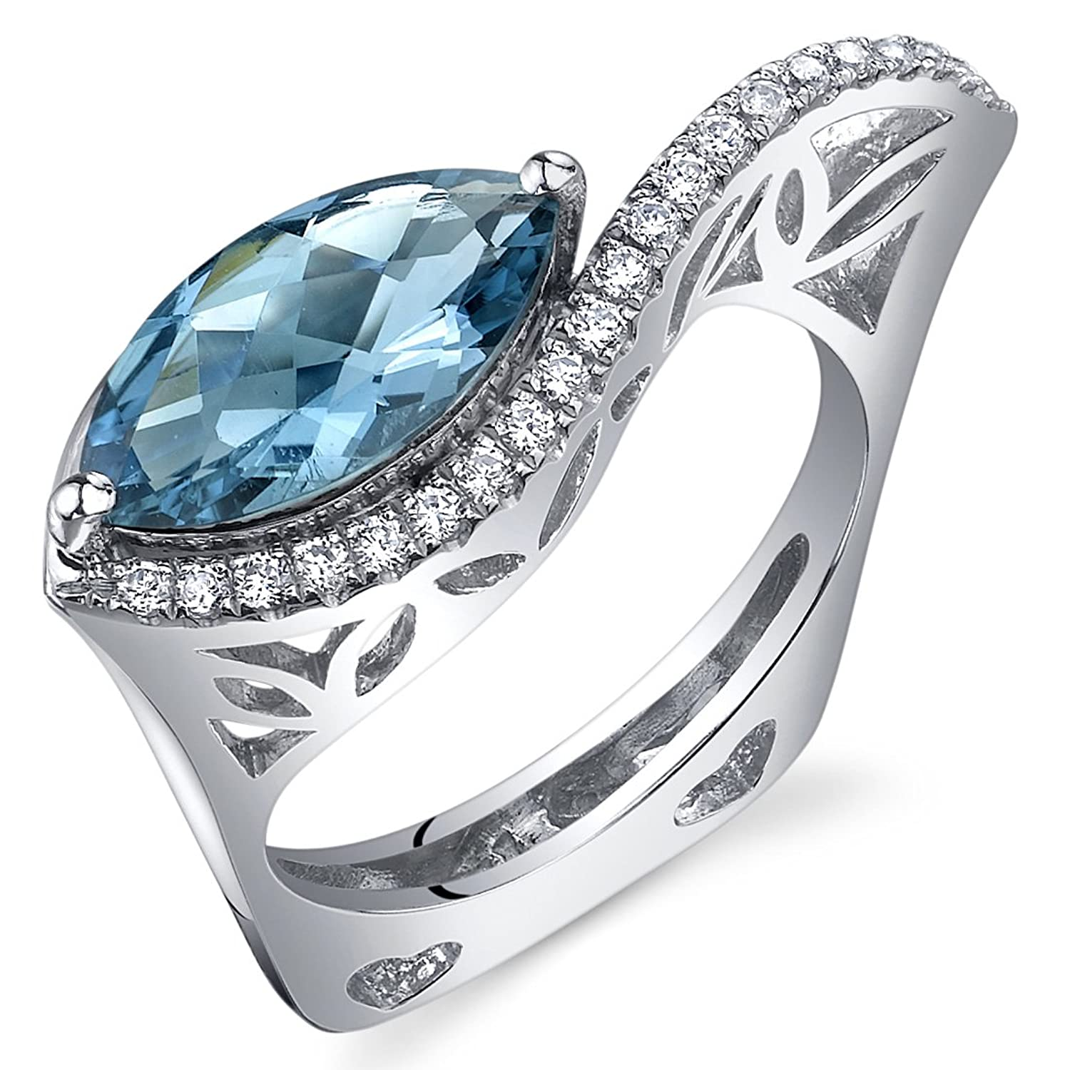 Filigree Style 2.00 Carats Marquise Cut London Blue Topaz Ring in Sterling Silver Rhodium Finish Sizes 5 to 9