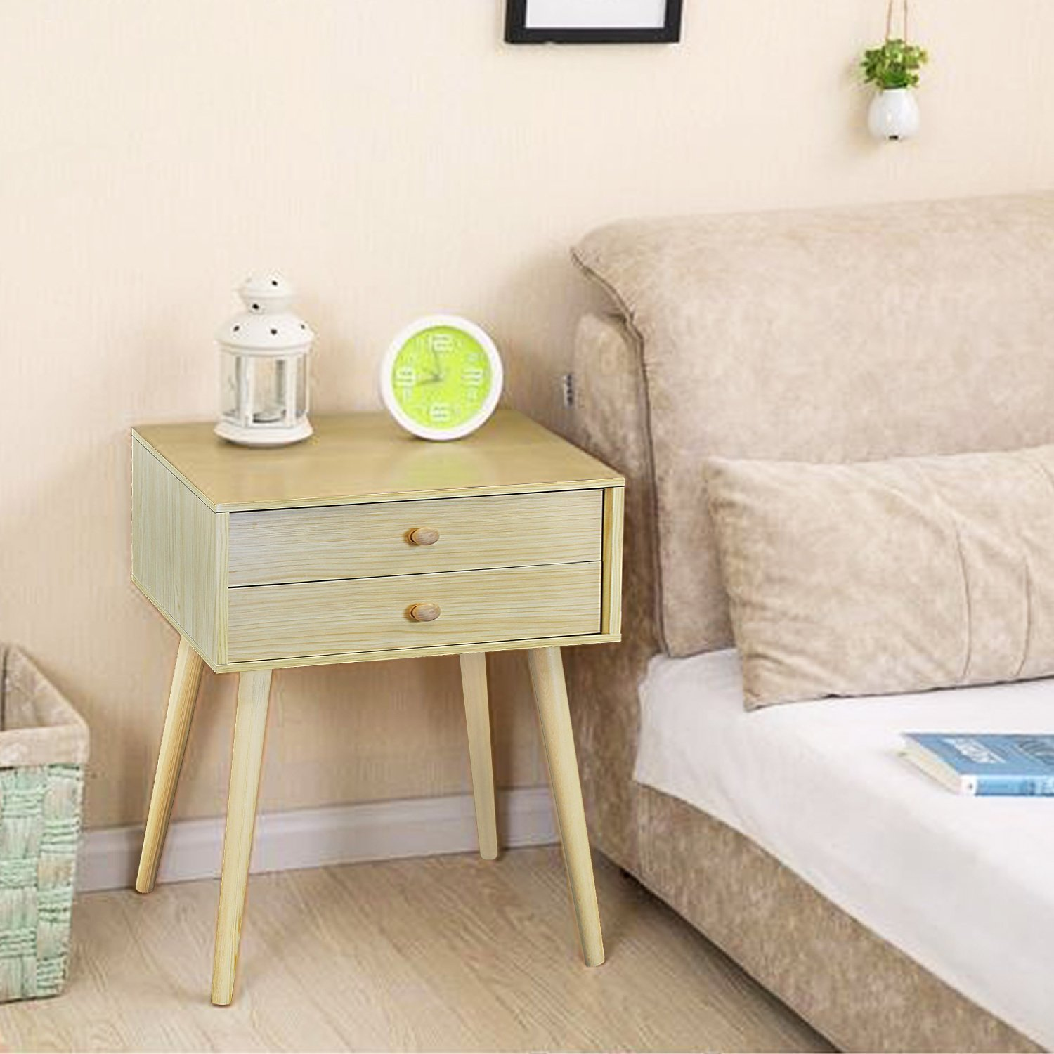 DL furniture - Side End Table Nightstand Bedroom Livingroom Table Cabinet with 2 Drawers | Natural Wood