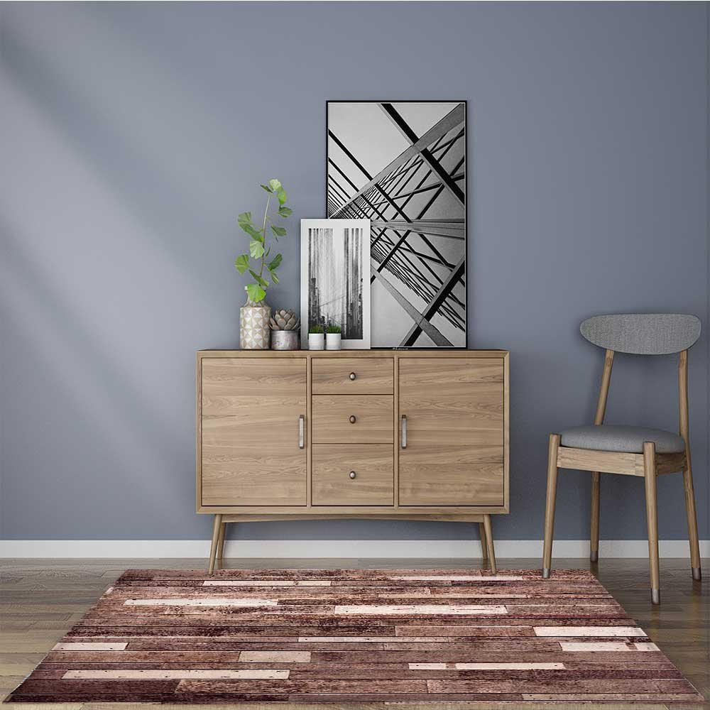 Anti-Static Rugs Wooden Wall Floor Textured Planks Panels Art Print Grain Cottage Lodge Hardwood Brown All Purpose High Density Non-Slip W35.5 x L47 INCH