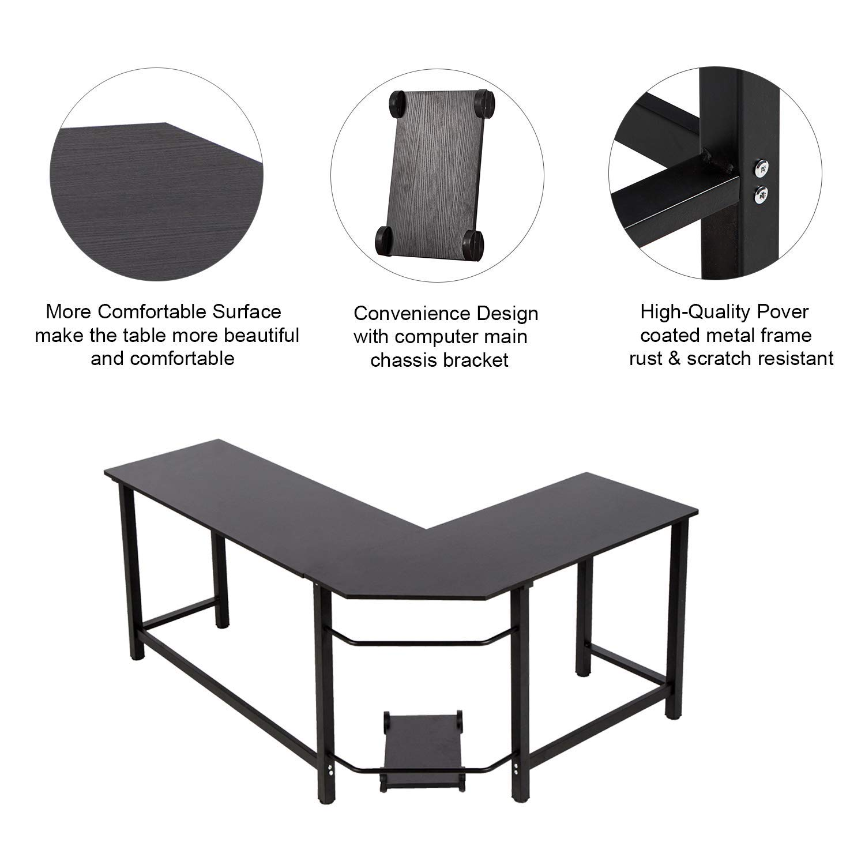 Kinbor Modern L-Shape Corner Office Computer Desk PC Laptop Table Workstation Study Table Home Furniture Black by Kinbor (Image #2)