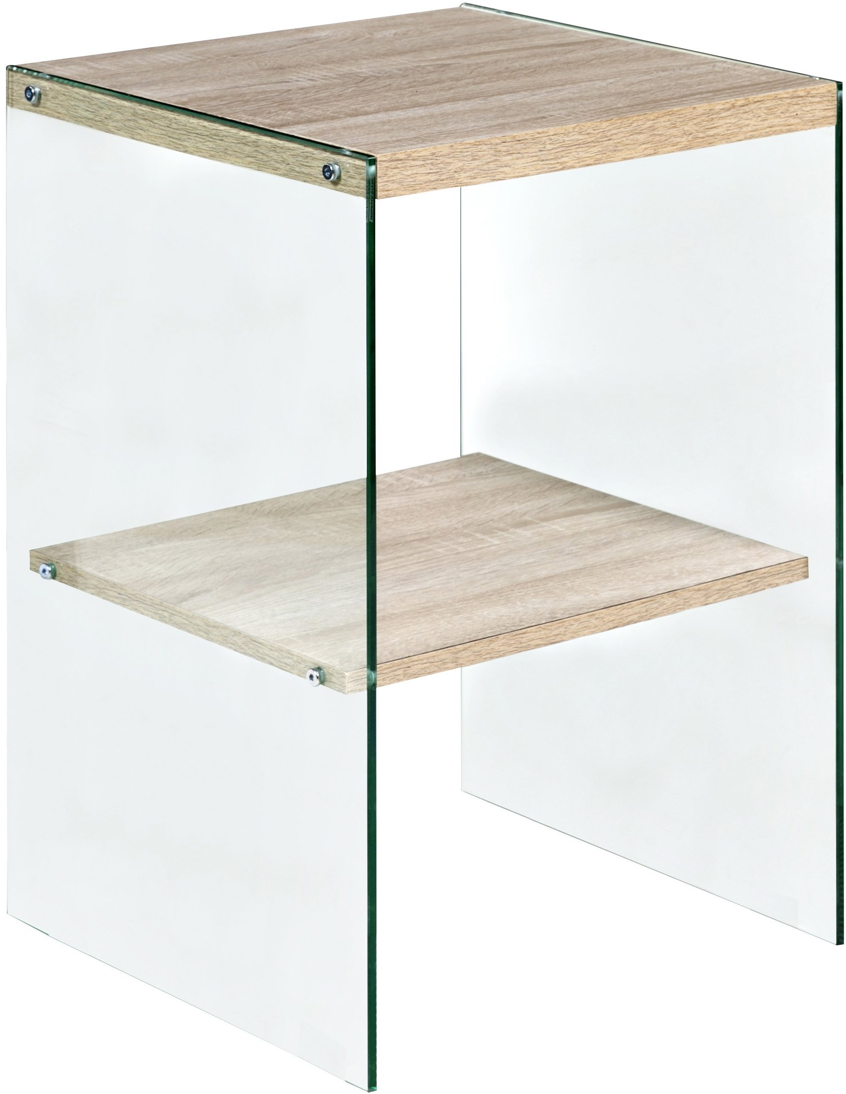 OneSpace 50-JN19ETLO Escher Skye Accent End Table, Glass and Wood, Light Oak