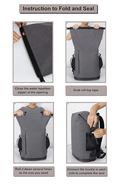 MIER 30L Roll-Top Waterproof Backpack Heavy Duty Kayaking Floating Dry Bag, Grey