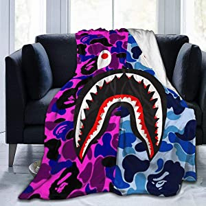 Muindancer Bape Blood Shark Purple Blue Camo Throw Blanket Lightweight Extra Soft Warm Thermal Blankets for Couch Bed Sofa Camping