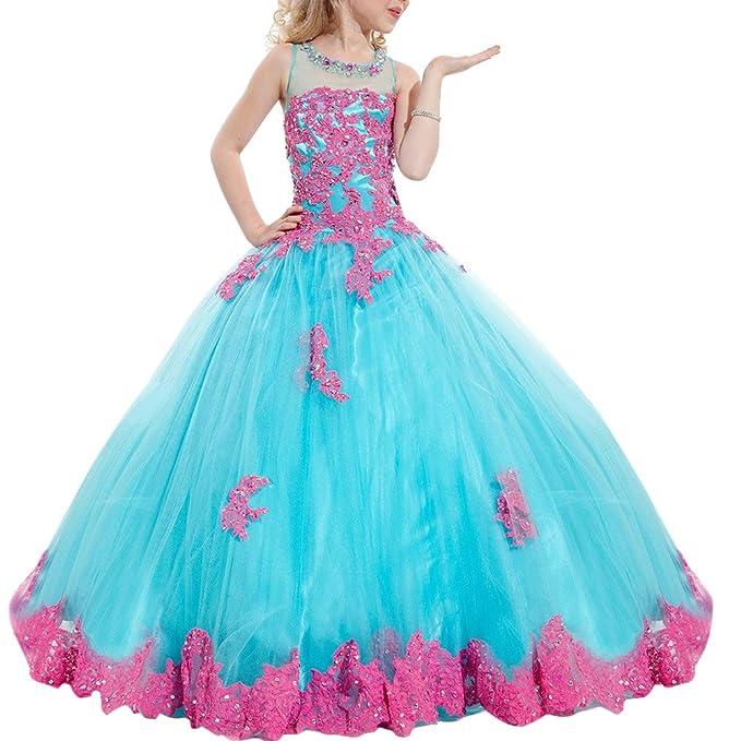 ec826f750d88 Bambina Senza Maniche Elegante Vestito Principessa Pizzo Abitini Da Bambini Fiore  Ragazze Abiti Matrimonio Damigella Festa Cerimonia Carnevale Compleanno ...