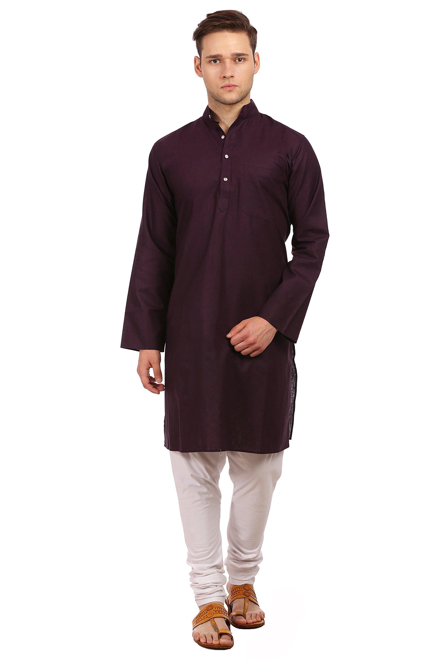 WINTAGE Men's Cotton Polyester Festive and Casual Purple Kurta Pyjama