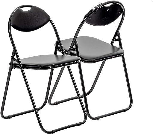 Chaise pliante rembourrée pour le bureau entièrement noire lot de 4