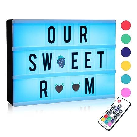 Caja de Luz Cine, A4 LED Cinema Light Letras Box, Cambio de Colore Cinematográfica Box con 120 Letras| Emojis | Símbolos Personaliza tu Propio Mensaje ...