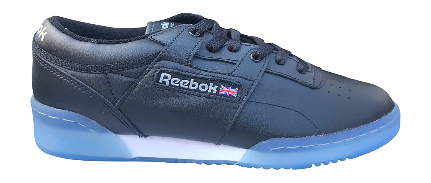 ec57b3e325b2c3 Amazon.com | Reebok Mens Workout Low Clean Ice Classic Leather Shoe, 12  D(M) US, Black, Light Grey, White, Ice | Fashion Sneakers
