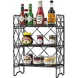 G.a HOMEFAVOR 3-Tier Foldable Spice Rack, Seasoning Herb Jars Storage Counter Metal Wire Basket Organizer Holder Shelf for Ki