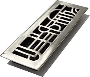 Decor Grates AD414-NKL 4-Inch by 14-Inch Art Deco Floor Register, Solid Brass with Brushed Nickel