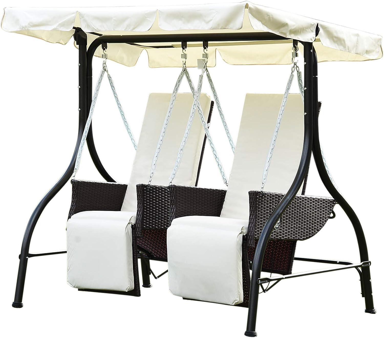 Outsunny – Balancín de 2 plazas Banco de jardín al Aire Libre Patio Columpio de jardín Silla Cama Tumbona Muebles de ratán, Color marrón: Amazon.es: Jardín