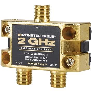 Monster Two Gigahertz Low-Loss RF Splitters for TV and Satellite, 2 Way 2  GigaHertz RF Splitter
