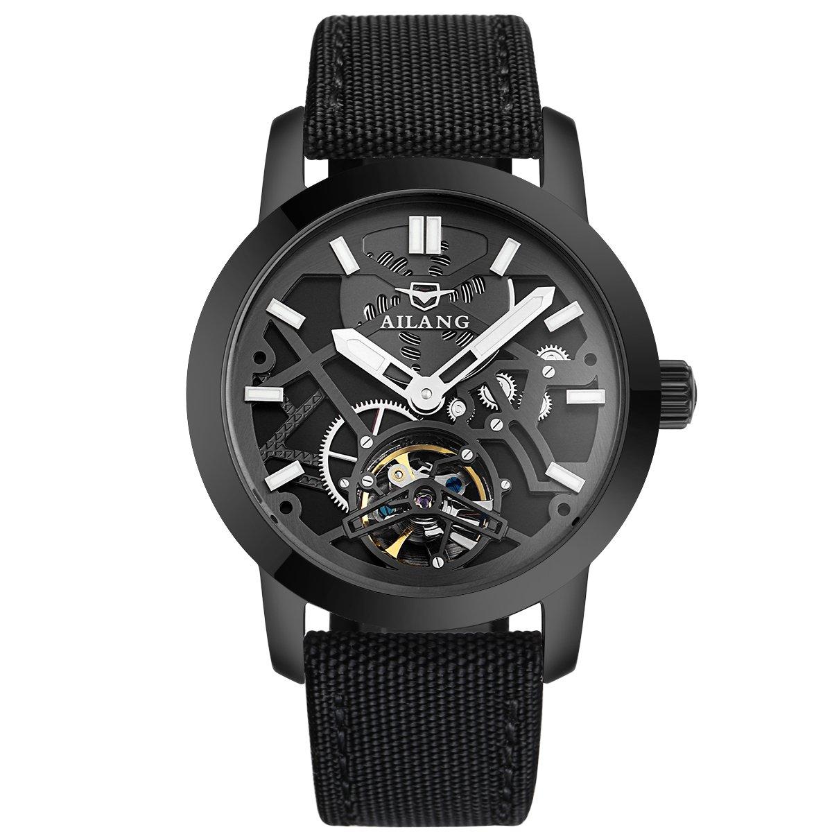 ailang ai6811lメンズスチームパンクブラックスケルトン自動巻き自動機械腕時計 ブラック B071VH7D3Y ブラック ブラック