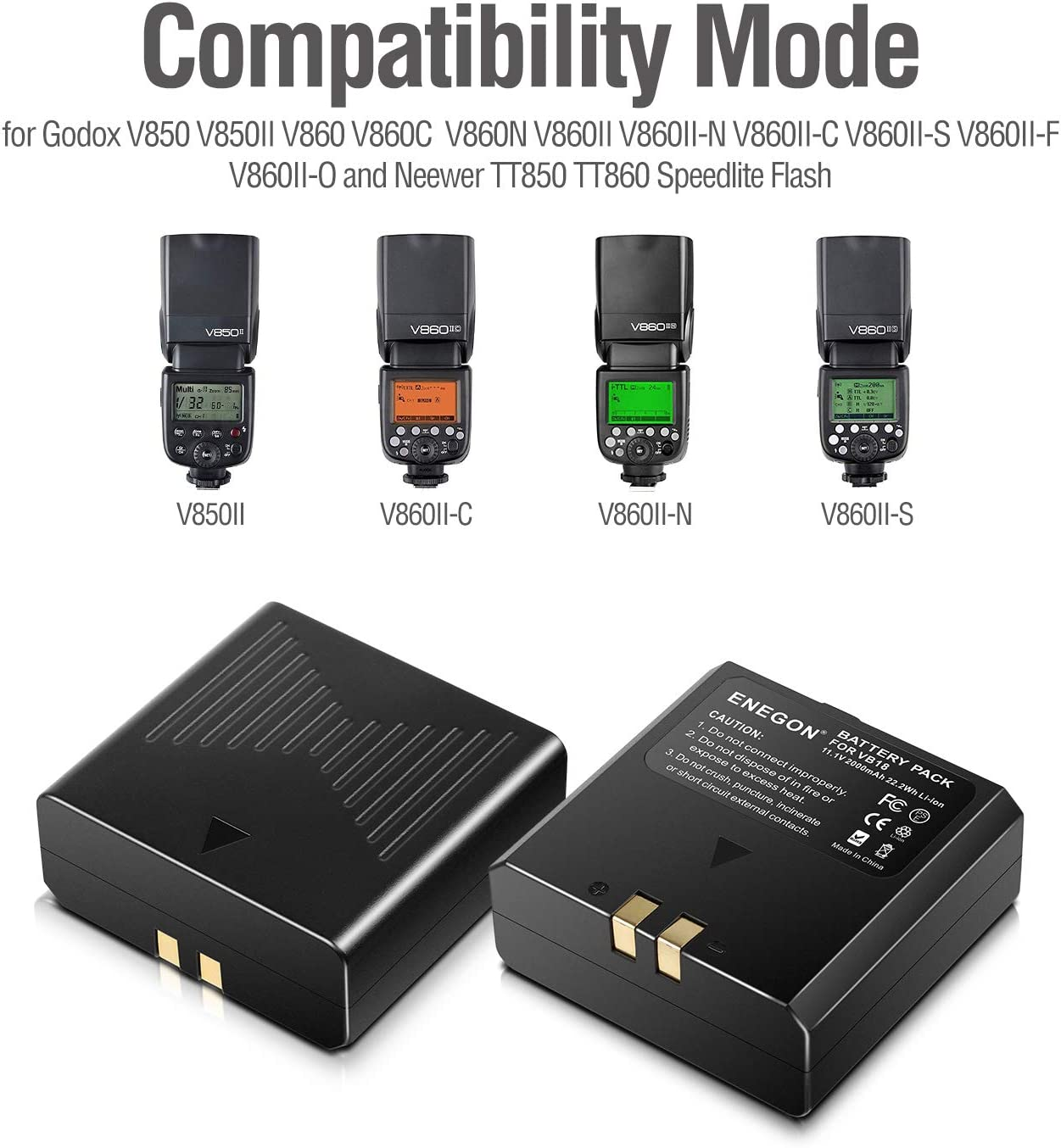 V860 Speedlite Flash PATONA Bateria VB19 2000mAh Compatible con Godox Ving V850