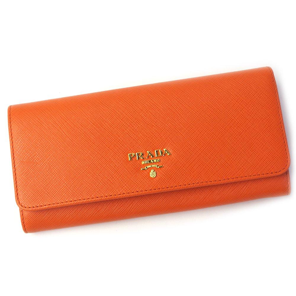 プラダ PRADA 財布 レディース 長財布 フラップ式 パスホルダー付き SAFFIANO METAL ARANCIO オレンジ 1MH132 [並行輸入品] B07CV8G31P