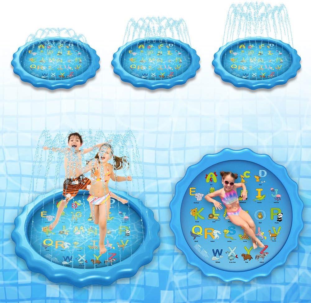 Onner Play Water Lawn Sprinkler Pad Splash Play Mat Outdoor Inflatable Splash Pool Sprinkler Water Toys for Kids Babies and Toddlers Learning Splash Pad