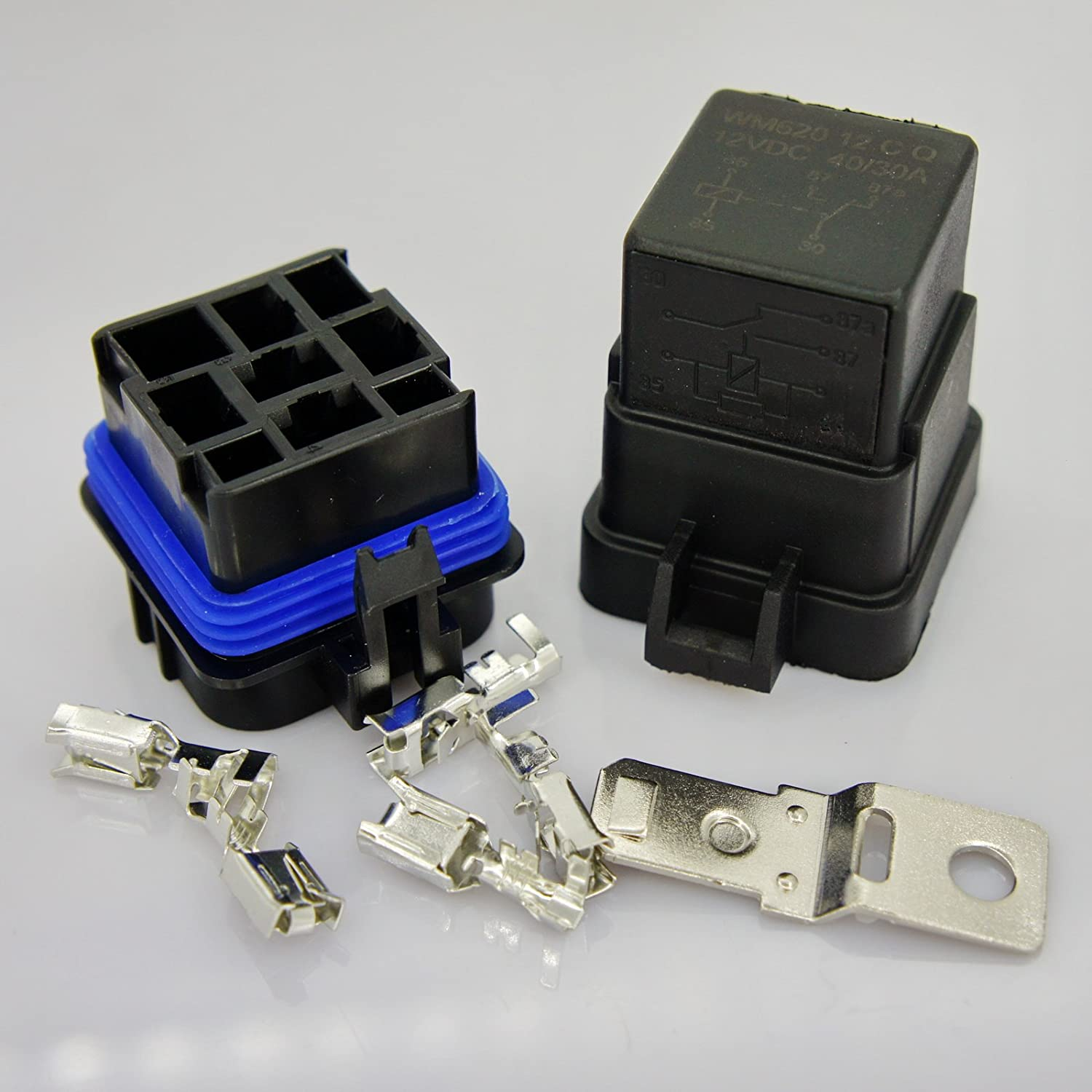 DC 12V 40A Universal Car Vehicle Waterproof Sealed Integrated Relay Kit & Base (5-Pin Relay) WLS AA098