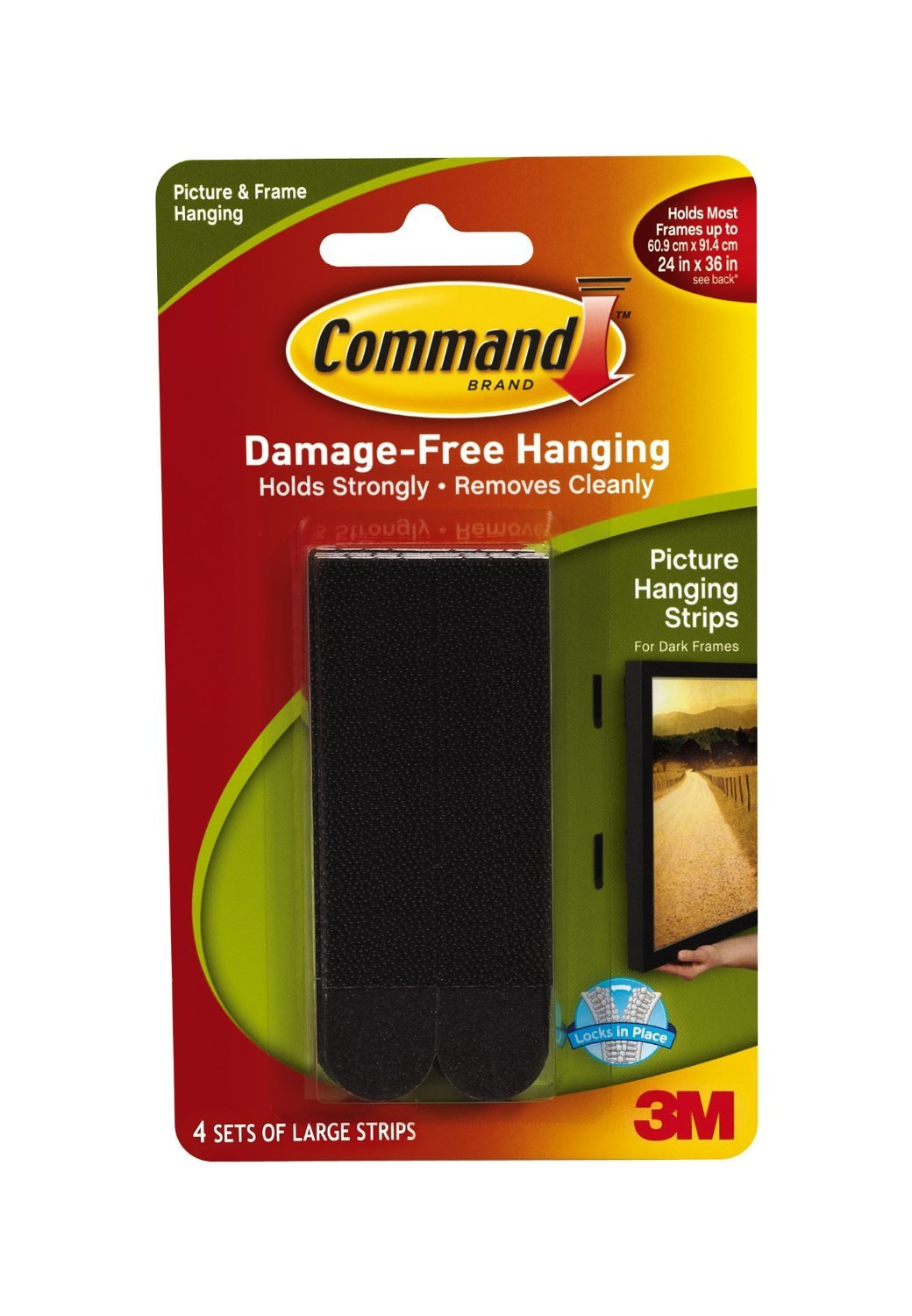 Command Large Picture-Hanging Strips, Black, 8-Strip