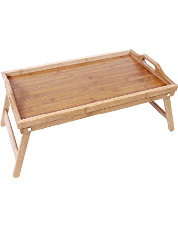 SONGMICS Bandeja para la cama con patas Mesa de comedor plegable de bambú 50 x 30