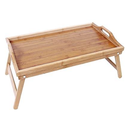 SONGMICS Bandeja para la cama con patas Mesa de comedor plegable de ...