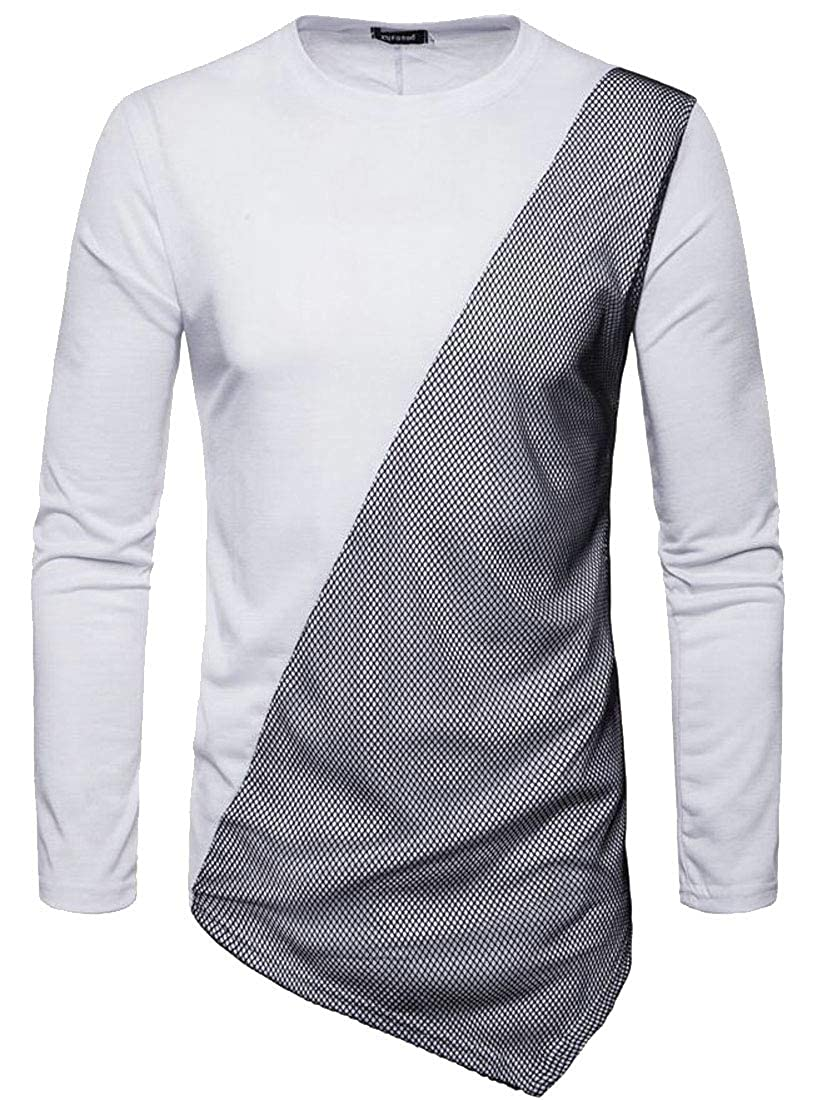 XTX Mens Long Sleeve Irregular Mesh Round Neck Basic T-Shirts Tee