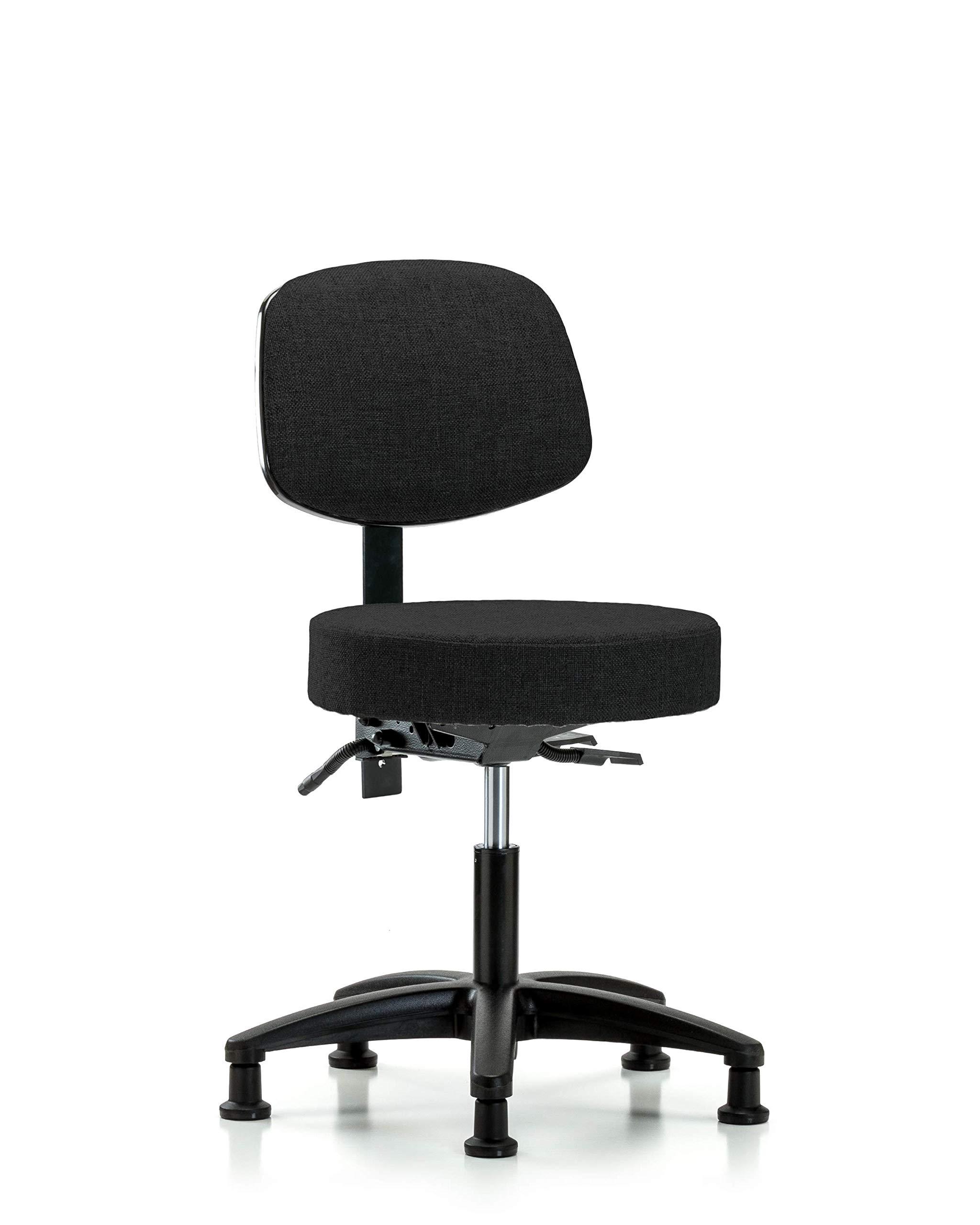 LabTech Seating LT41613 Fabric Desk Height Stool with Back Nylon Base, Tilt, Glides, Black