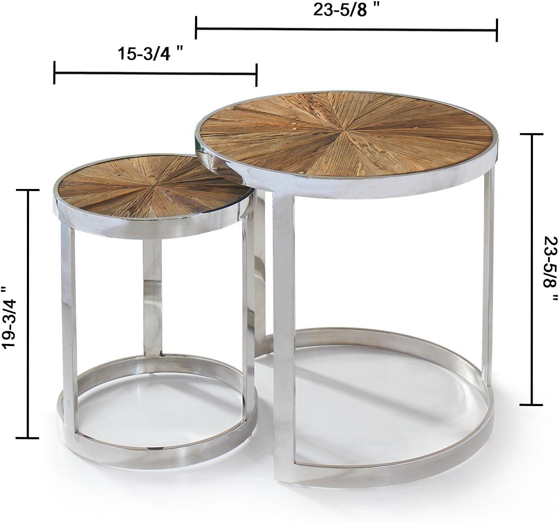 Magari GL15361537 Eclisse II Reclaimed Elm Wood Nesting End Table
