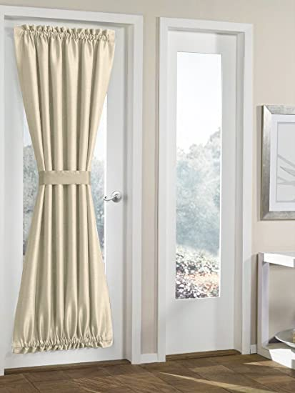 Bon RHF Blackout French Door Curtains   Thermal Insulated Door Panel 54W By 72L  Inches Beige