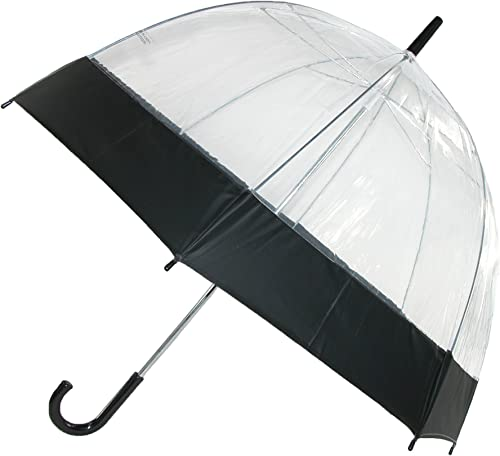 iRain Clear Bubble Dome with Colored Trim Hook Handle Umbrella, Black Trim