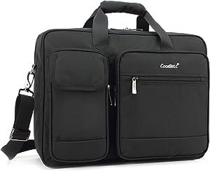 CoolBELL 17.3 Inch Laptop Briefcase Protective Messenger Bag Nylon Shoulder Bag Multi-Functional Hand Bag for Laptop/Ultrabook/Tablet/MacBook/Dell/HP/Men/Women/Business (Black)
