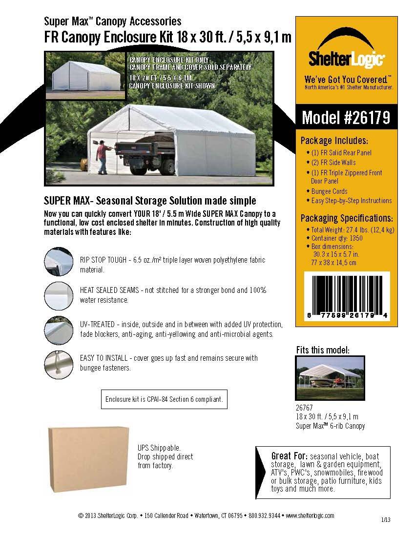 Amazon.com ShelterLogic Canopy Enclosure Kit 18x30-Feet White Sports u0026 Outdoors  sc 1 st  Amazon.com & Amazon.com: ShelterLogic Canopy Enclosure Kit 18x30-Feet White ...