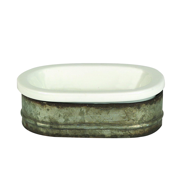 Creative Co-op DA3657 Galvanized Metal and Stoneware Vintage Soap Dish