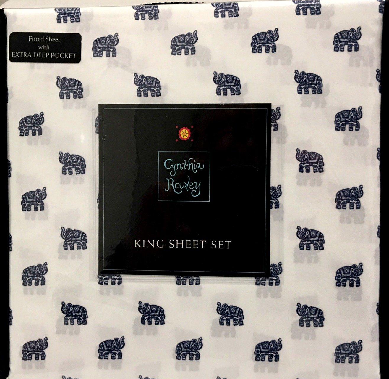 Cynthia Rowley 4-Piece KING Sheet Set | Navy Blue Indian Elephants on White | 100% Easy Care Microfiber