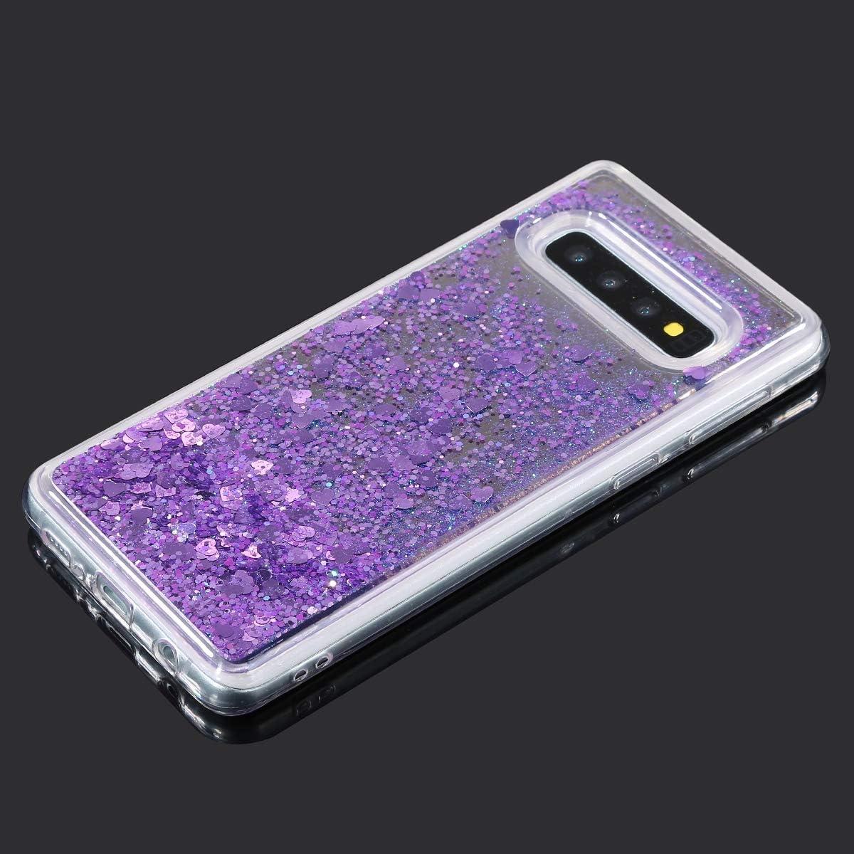 Herbests Kompatibel mit Samsung Galaxy S10 H/ülle Glitzer Fl/üssig Treibsand Handyh/ülle Liebe Herz Flie/ßend Fl/üssigkeit Strass Diamant Bling Silikon Schutzh/ülle Spiegel H/ülle,Lila