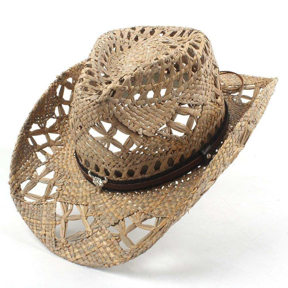 AZU Natural Jazz Straw Cowboy Hat Frauen Männer Handarbeit Weave Cowboy Hüte für Lady Dad Slouch Style Mütze