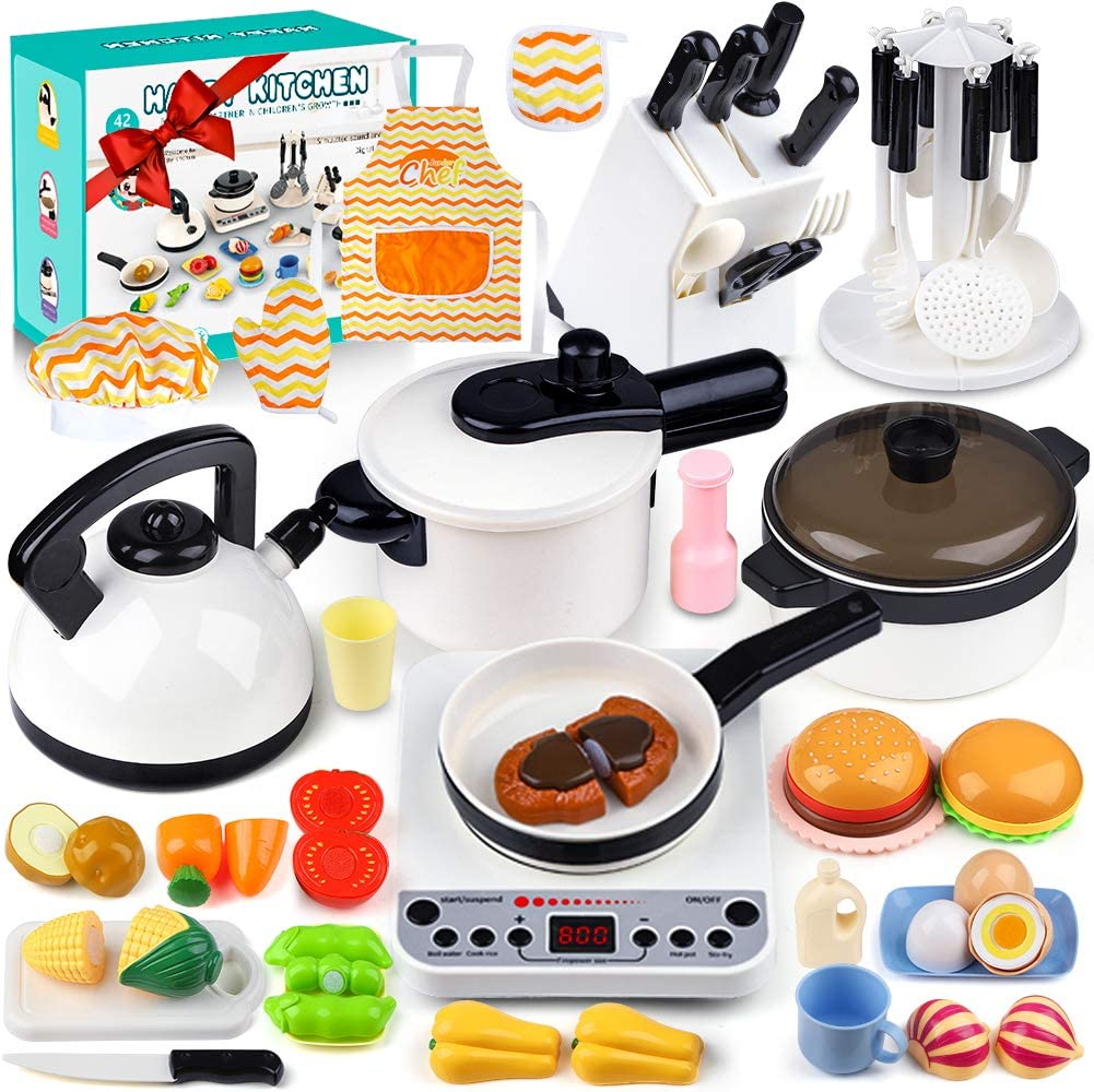 42pcs Kids Kitchen Play Toy Sets, Pretend Cooking Kit With Induction Cooker, Cookware Pots and Pans Playset, Cutting Food Toys, Cooking Utensils Accessories, Learning Gift for Toddler Girls Boys