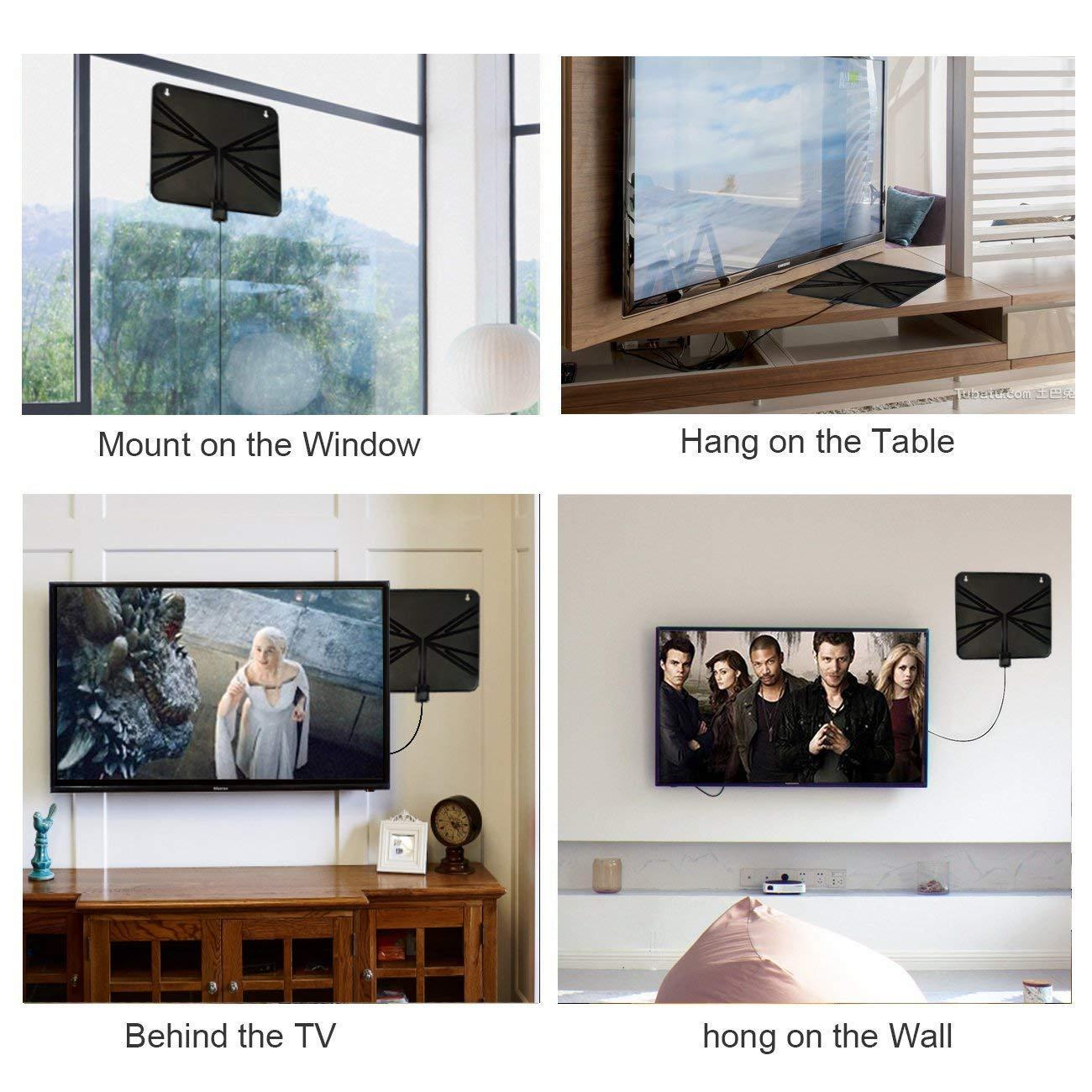 Antena HDTV, antena HDTV amplificada para interiores Alcance de 50 millas con amplificador desmontable Amplificador de señal y cable coaxial de alto ...