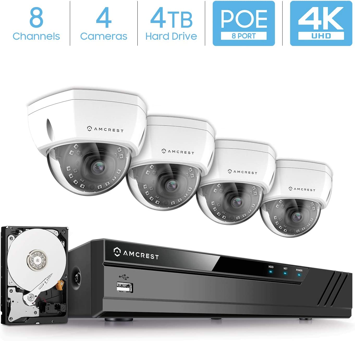 Amcrest 4K 8CH Security Camera System w 4K 8MP NVR, 4 x 4K 8-Megapixel IP67 Weatherproof Metal Dome POE IP Cameras 3840×2160 ,Pre-Installed 4TB Hard Drive, NV4108E-HS-IP8M-2493EW4-4TB White