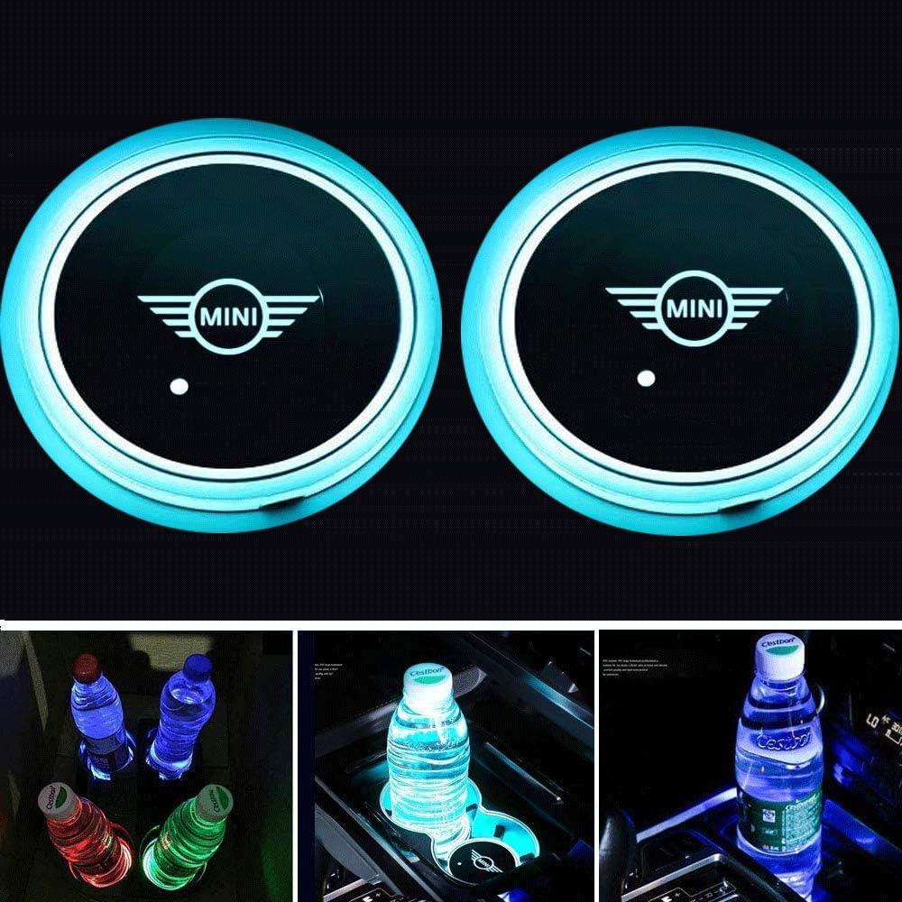 Fitracker 2 ST/ÜCKE 7 Farben LED Auto Getr/änkehalter Matte Pad Autos Achterbahn Innen Atmosph/äre Lichter Dekoration Zubeh/ör