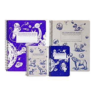 Decomposition Cats & Dogs Bundle, Two Designs: Kittens in Space & Dogs and Bubbles, Includes two 4 by 6 Inch and Two 7.5 by 9.5 Inch Wirebound Notebooks, Made in the USA