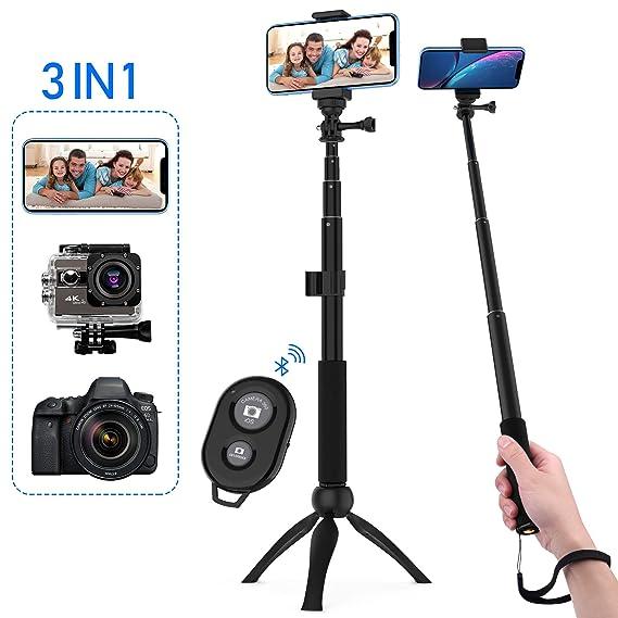 Zttopo Selfie Stick Stativ, 3 in 1 Selfiestick mit Fernbedienung, Selfie-Stange mit Bluetooth-Fernauslöser für iPhone Android