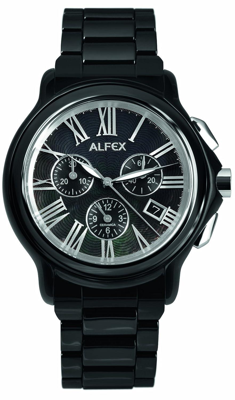 Alfex – 5629 _ 794 – Armbanduhr – Quarz Chronograph – Ziffernblatt Perlmutt – Armband Stahl schwarz