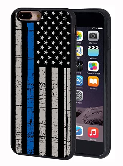 newest collection 6d110 f8c91 iPhone 7 Plus Case,iPhone 8 Plus Case,BWOOLL Thin Blue Line American Flag  TPU Protective Cover for Apple iPhone 7 Plus/iPhone 8 Plus (5.5 inch)