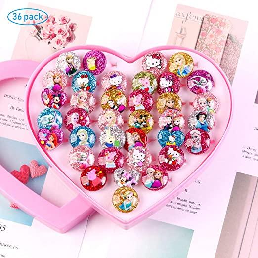 MUCHEN SHOP Anillos para Niñas,36 Pack Princesa Joyas Anillos de ...