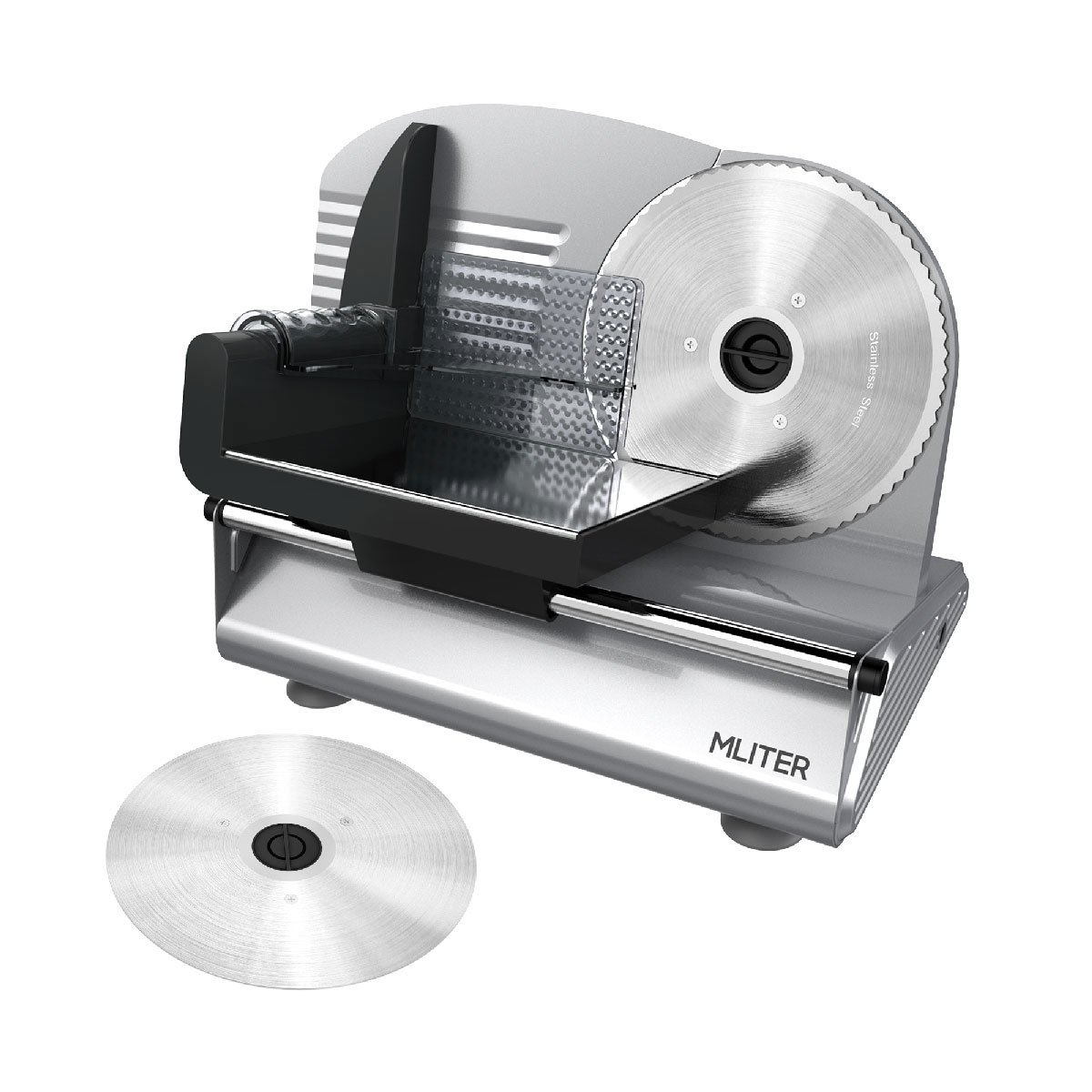 MLITER 150W Electric Food & Meat Slicer Machine with 2 Blades - 7.5 Inch Serrated & Non-serrated Stainless Steel Blades - Thickness Adjustable for Bread, Cheese, Ham, Vegetables, etc - Silver
