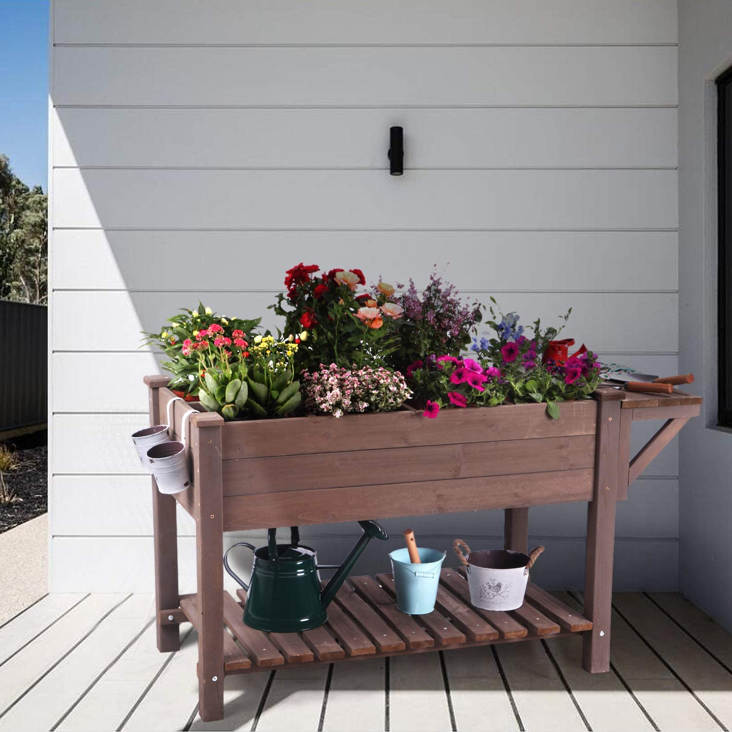 Raised Garden Bed for Herbs, Patio Elevated Flower Planter Vegetable Boxes with Grow Grid - Large Storage Shelf