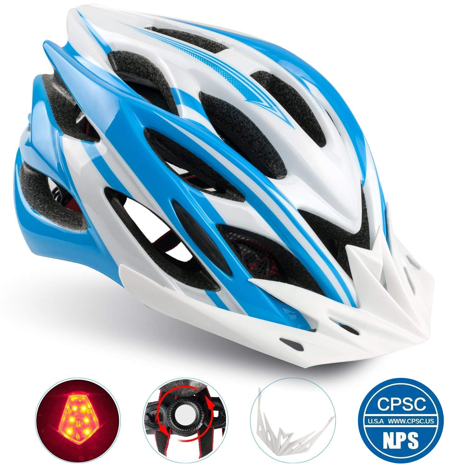 47a8ce63097 Basecamp Specialized Bike Helmet with Helmet Accessories-LED Light/Portable  Backpack, Adjustable Cycling Helmet Bicycle Helmet for Road&Mountain Adult  ...