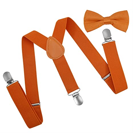 Accessories Boys Brooben Child Kids Suspenders Bowtie Set Adjustable Length Suspender with Bow Tie Set for Boys and Girls SPBT1-WHITE