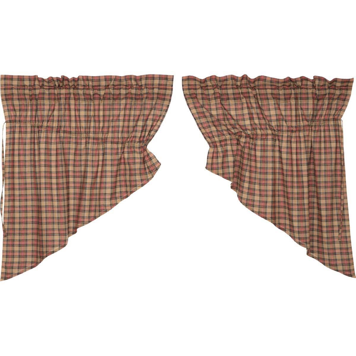 VHC Brands Primitive Kitchen Curtains Cinnamon Rod Pocket Cotton Drawstring Ties Plaid Prairie Swag Pair, Natural Tan