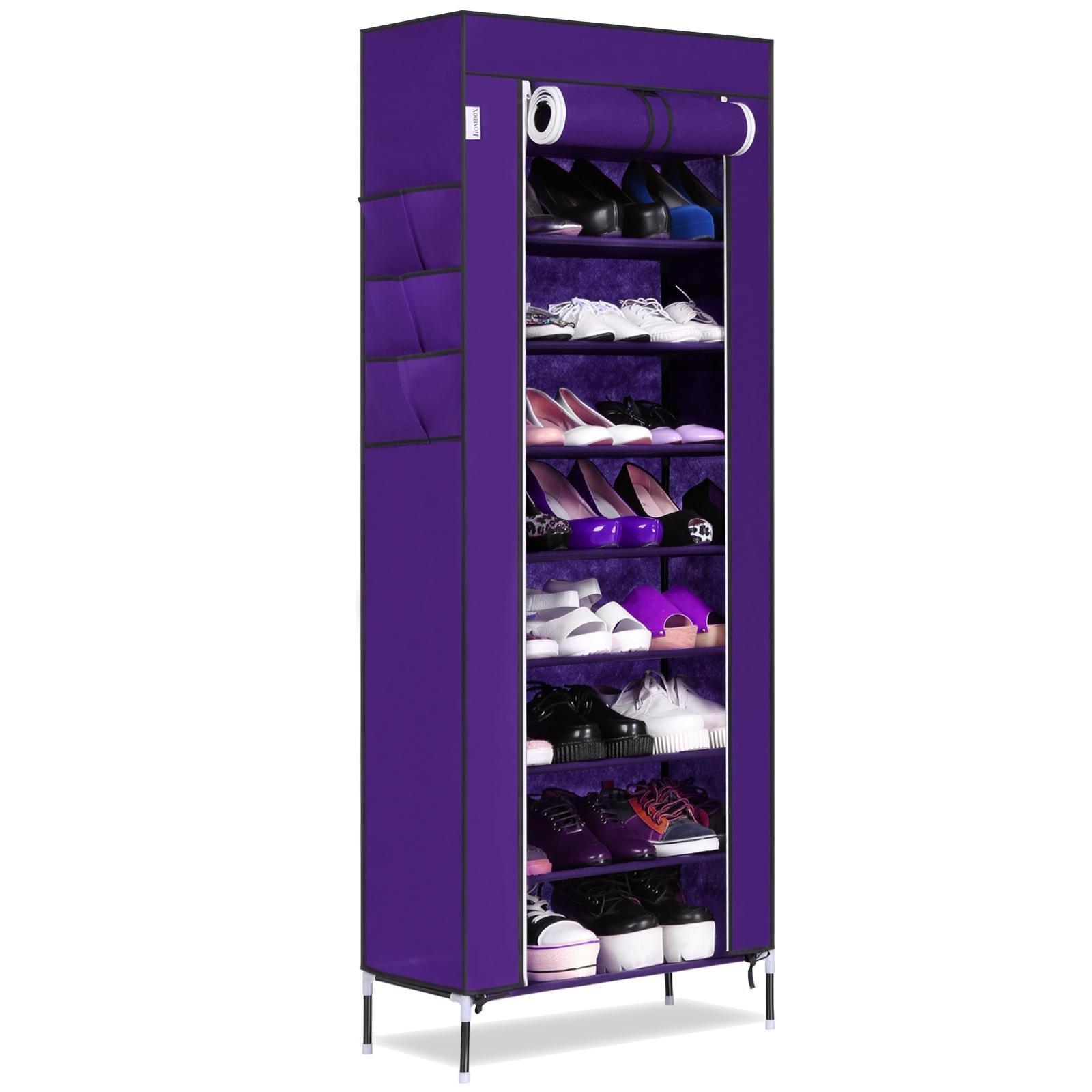 neudas 10 Tiers Shoe Rack with Cover Shoe Storage Cabinet Organizer Portable Shoe Tower Rack, 23.4 x 11.7 x 65.5inch (Purple)